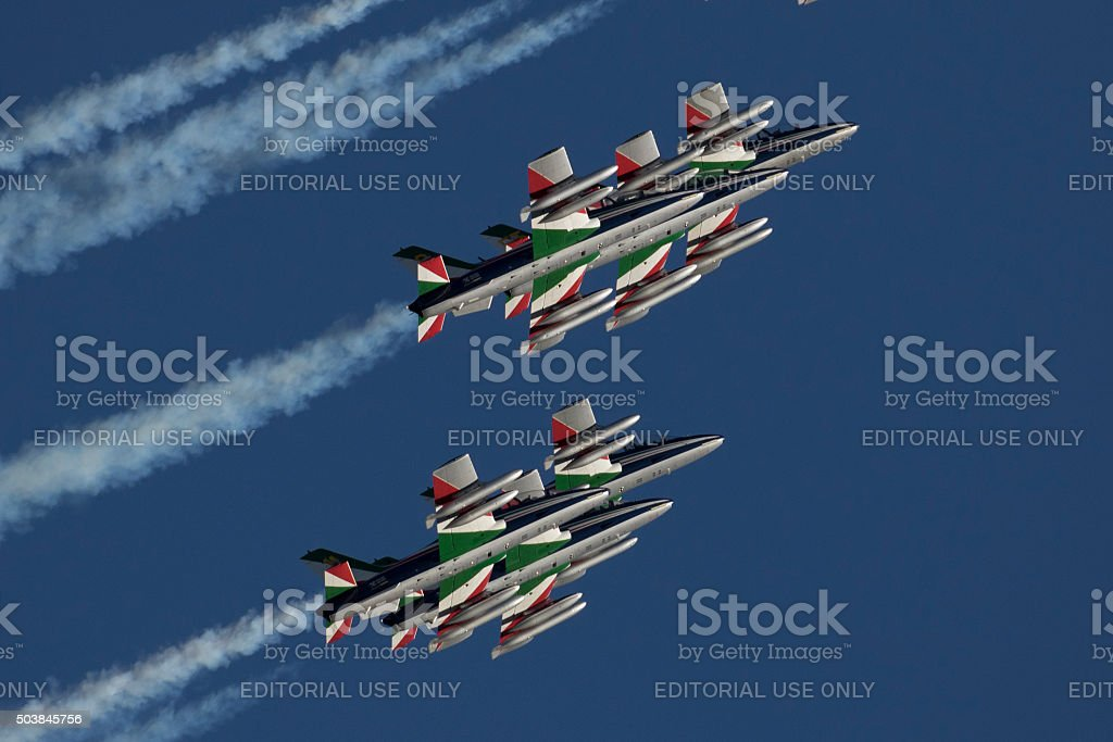 Italian special unit airforce - Frecce Tricolori - stock photo