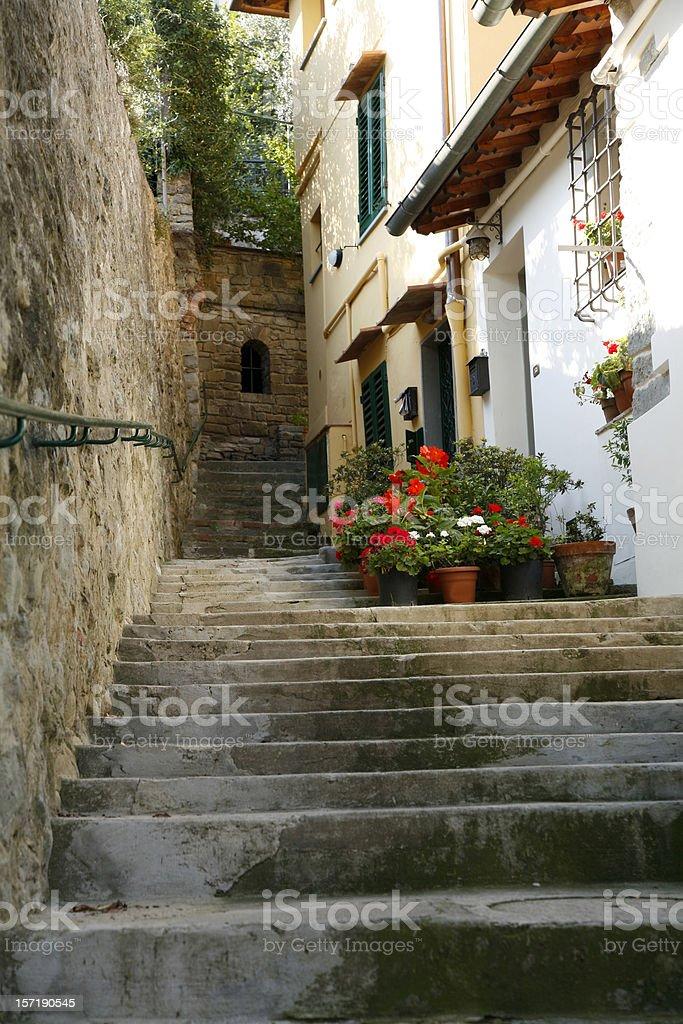 Italian Stairway in Fiesole stock photo