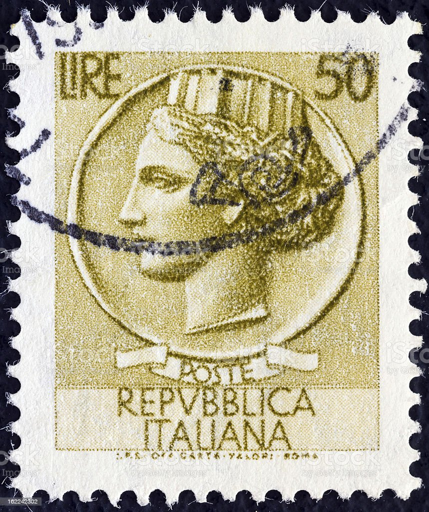 Italian stamp shows Ancient coin of Syracuse (1968) royalty-free stock photo