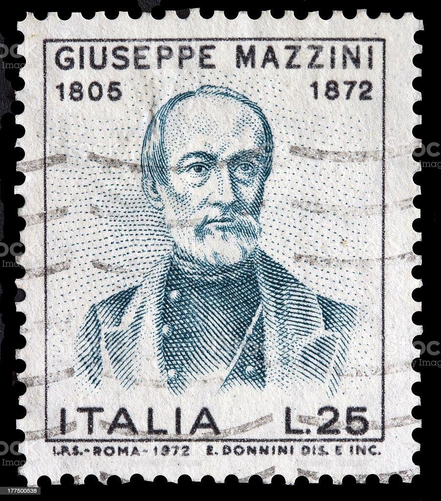 Italian stamp with Giuseppe Mazzini picture stock photo