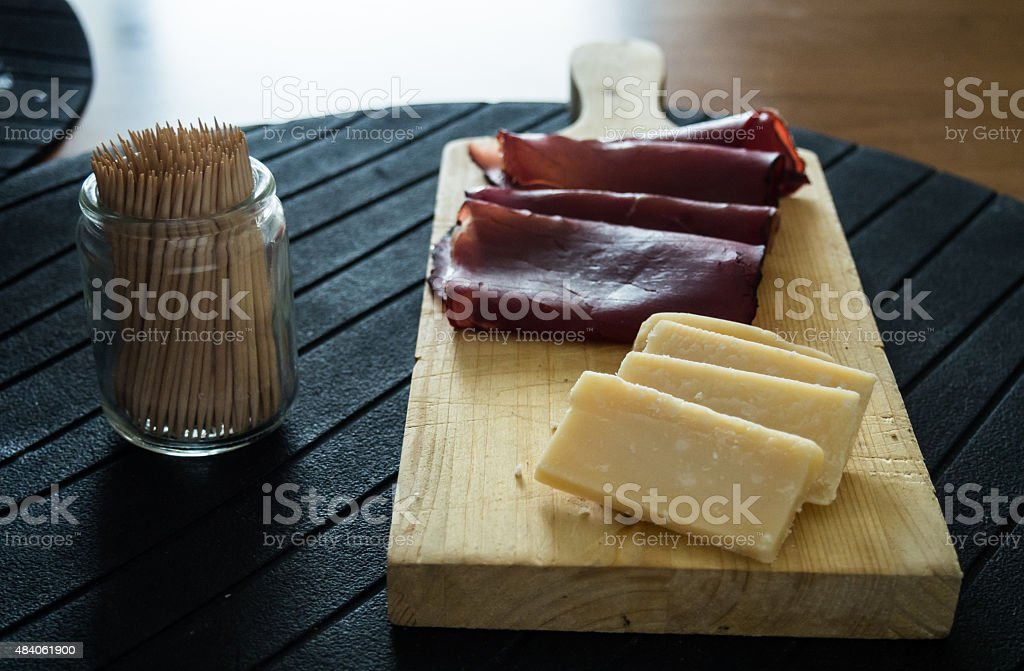 Italian Starter, Parmigiano Reggiano and Sliced Bresaola stock photo