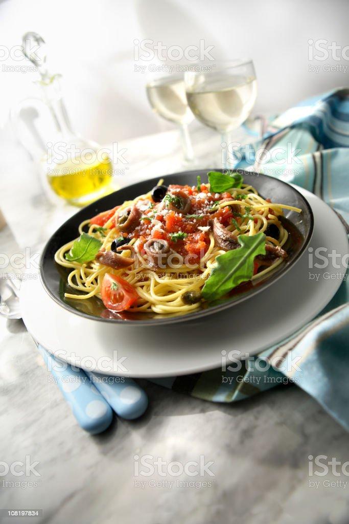 Italian Stills: Spaghetti Puttanesca royalty-free stock photo