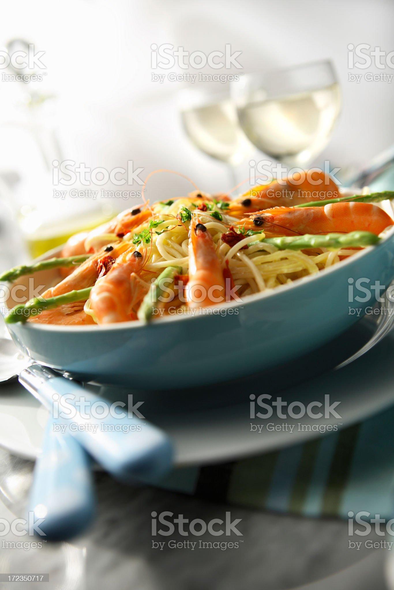 Italian Stills: Spaghetti with Shrimps and Asparagus royalty-free stock photo