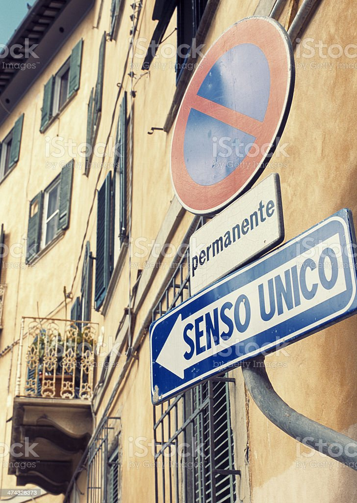 Italian street signs - One way only (Senso unico) royalty-free stock photo