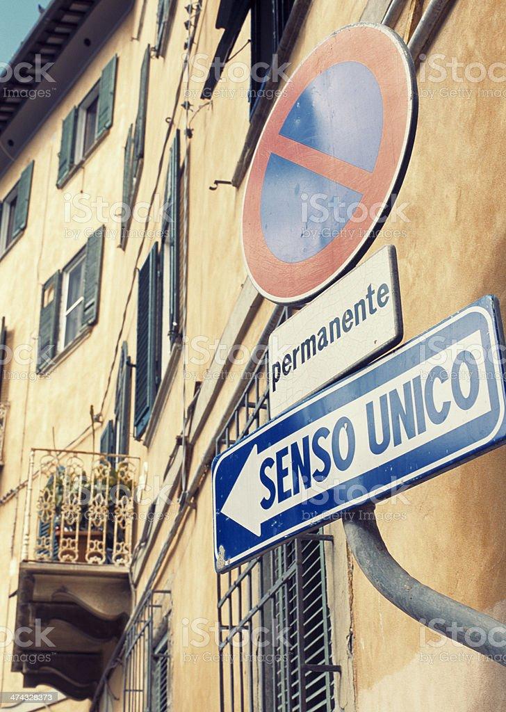 Italian street signs - One way only (Senso unico) stock photo
