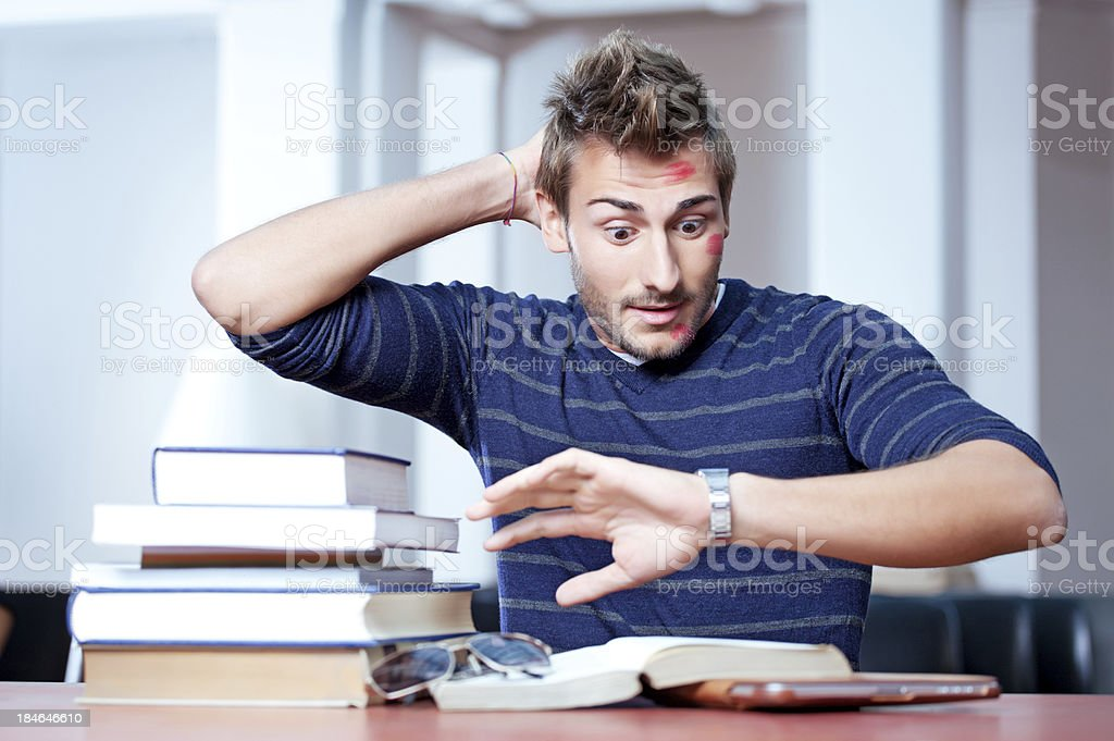italian student  overslept and missed his exam stock photo