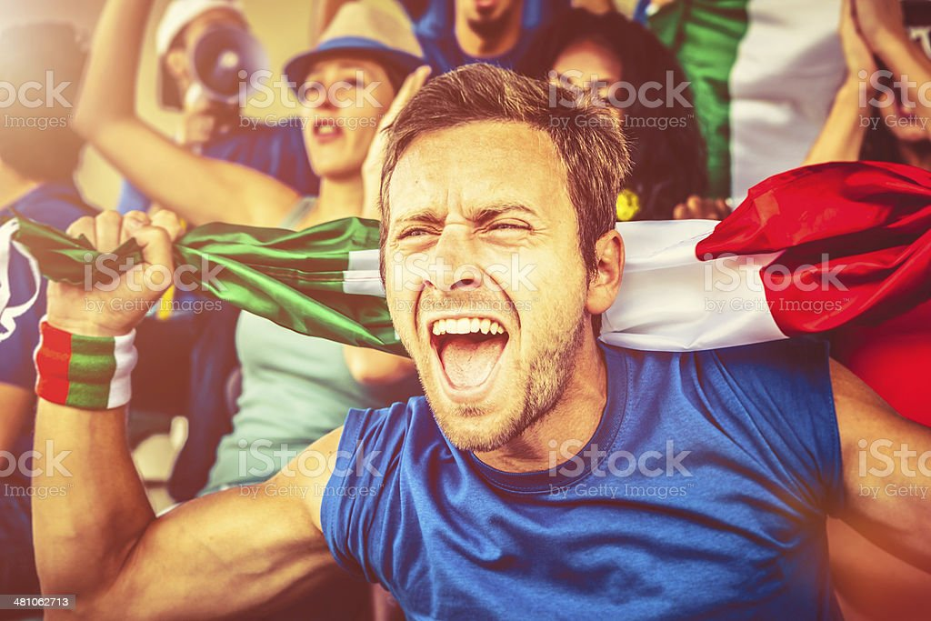 Italian Supporter at the Stadium, Soccer Championship royalty-free stock photo