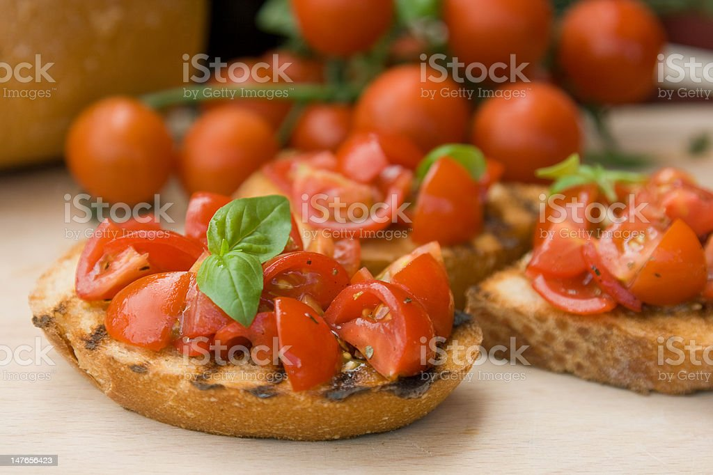 Italian toasted bread with tomatoes (bruschetta) royalty-free stock photo