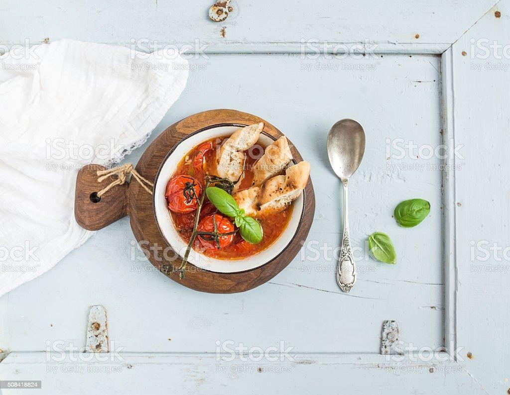 Italian tomato, garlic and basil soup Pappa al Pomodoro in stock photo