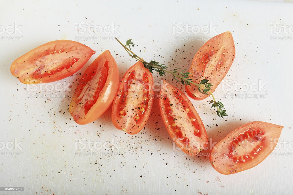 italian tomatoes with spices and herbs stock photo