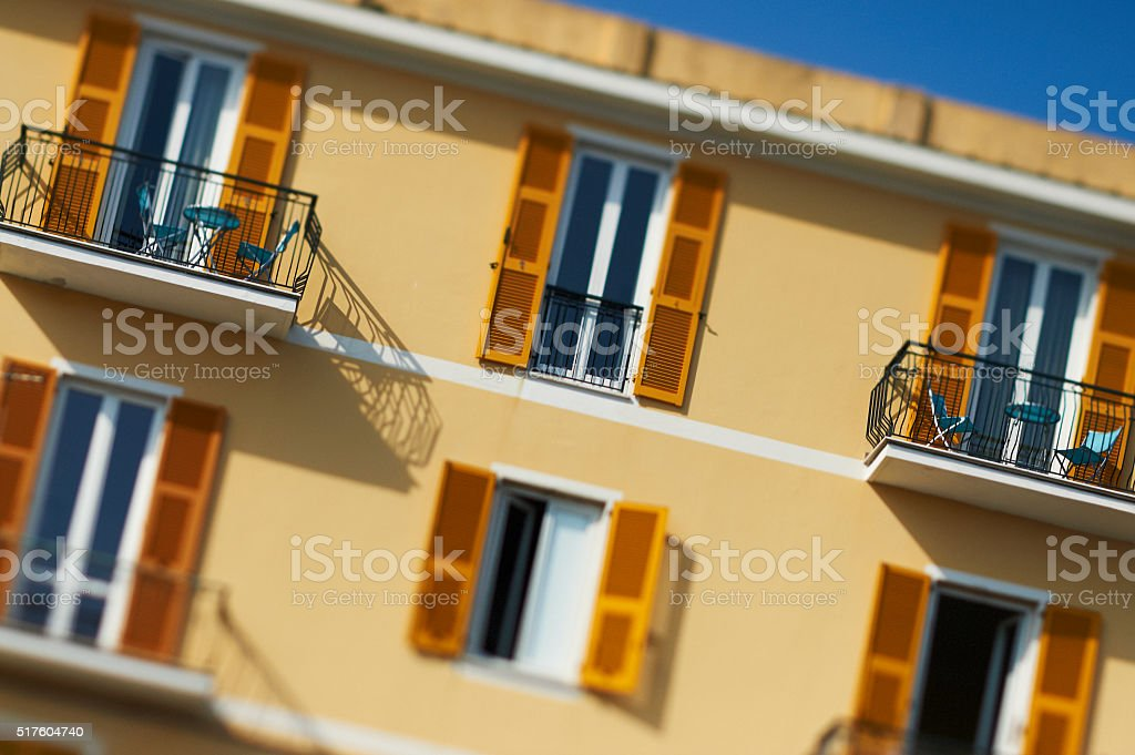 Italian tower block with out of focus details - background stock photo