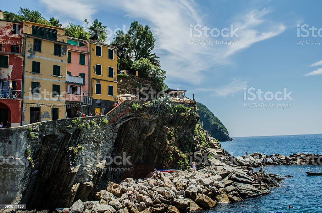 Italian town and ocean. stock photo