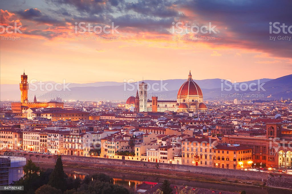 Italian town Florence by dusk stock photo