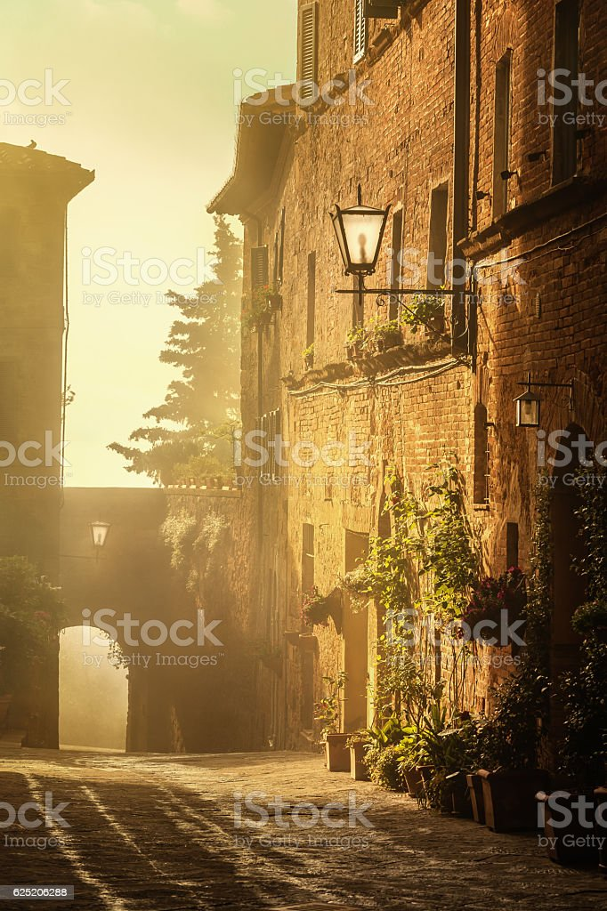 Italian town of Pienza at sunrise, Tuscany stock photo