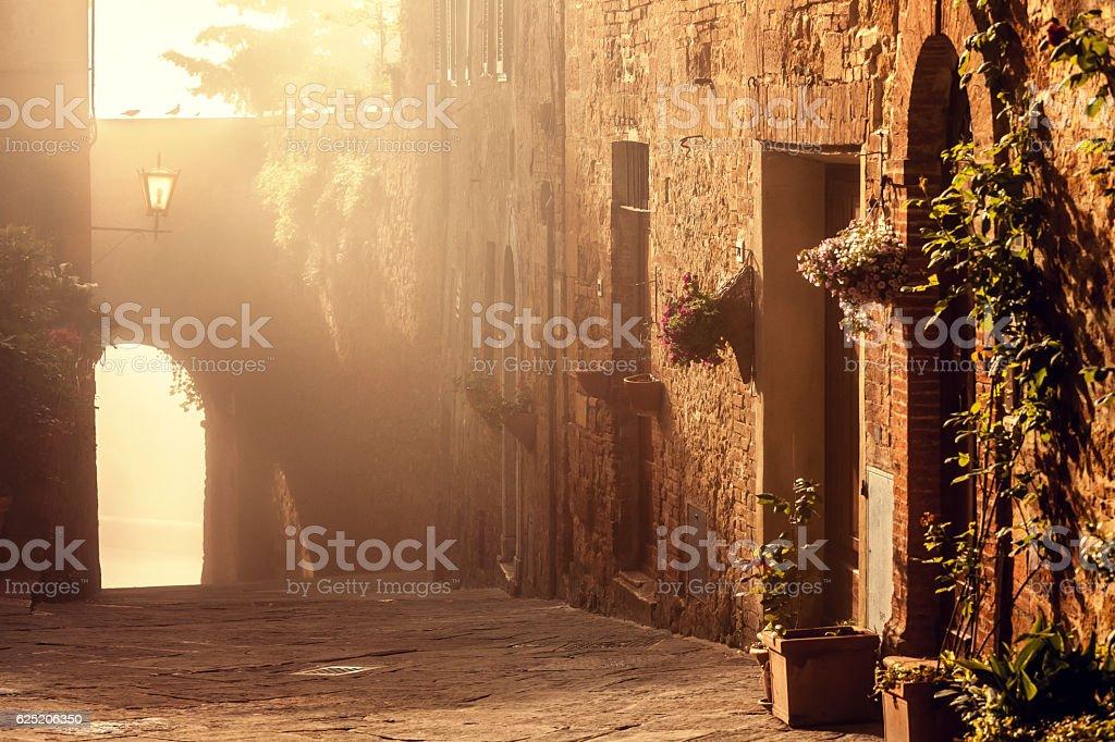 Italian town of Pienza at sunrise, Tuscany stock photo
