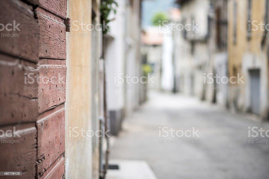 Italian town selective focus street background royalty-free stock photo