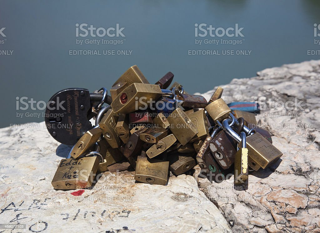 Italian tradition of engraving a lock with names stock photo