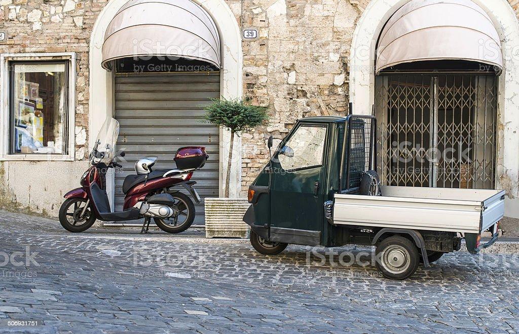 Italian tricycle stock photo
