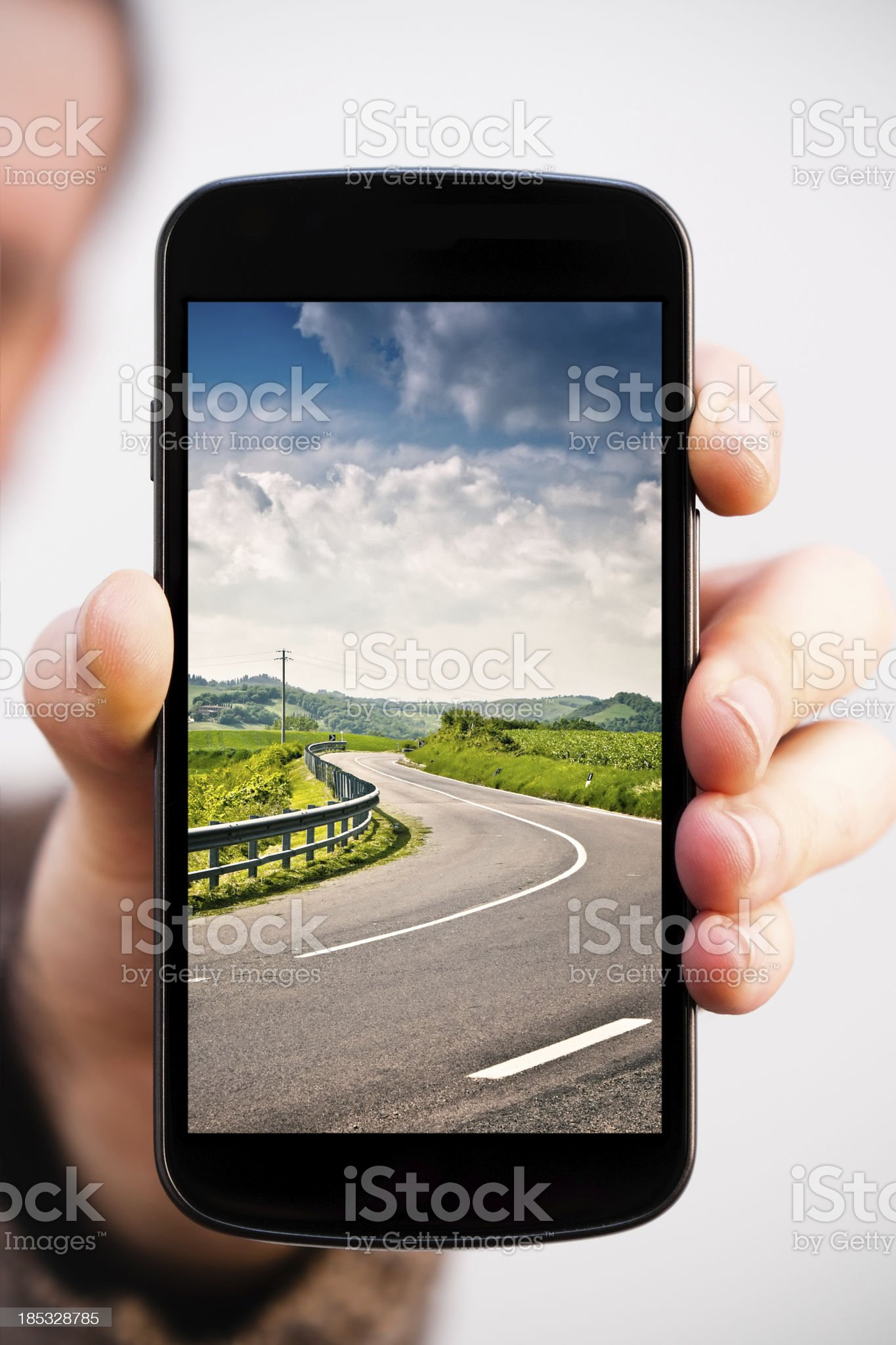 Italian Trip Photo on a Modern Smartphone (Clipping path) royalty-free stock photo