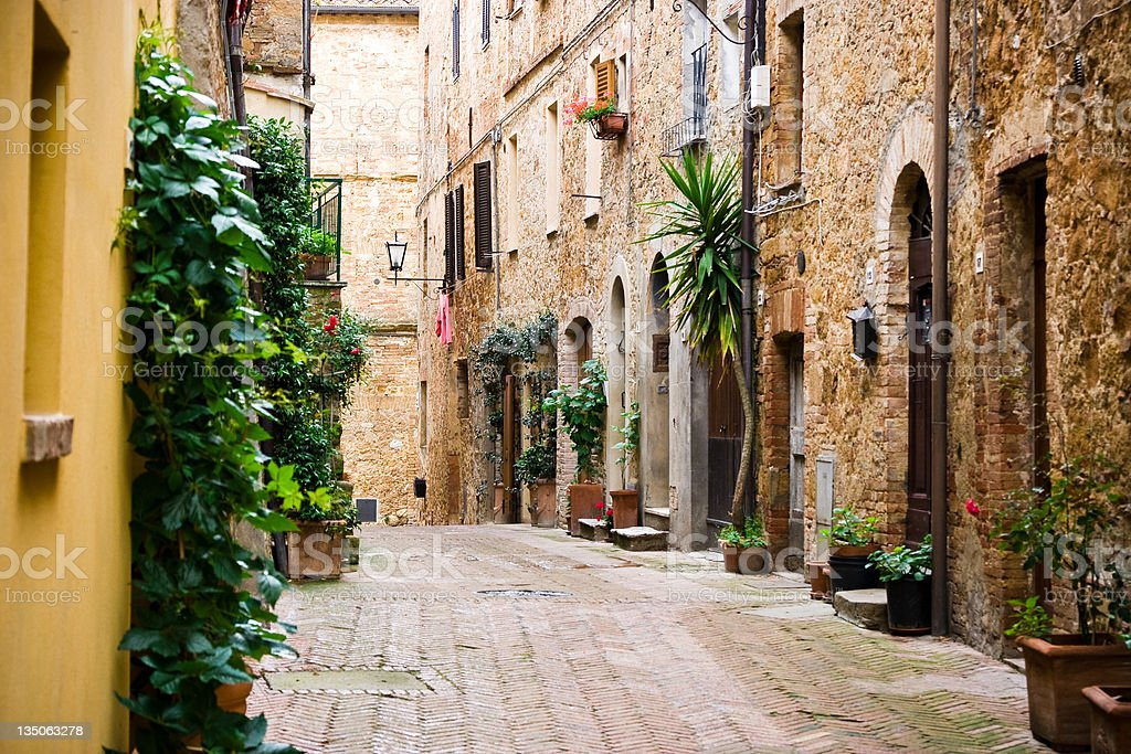 Italian Village Alley With Doors and Plants, Tuscany stock photo