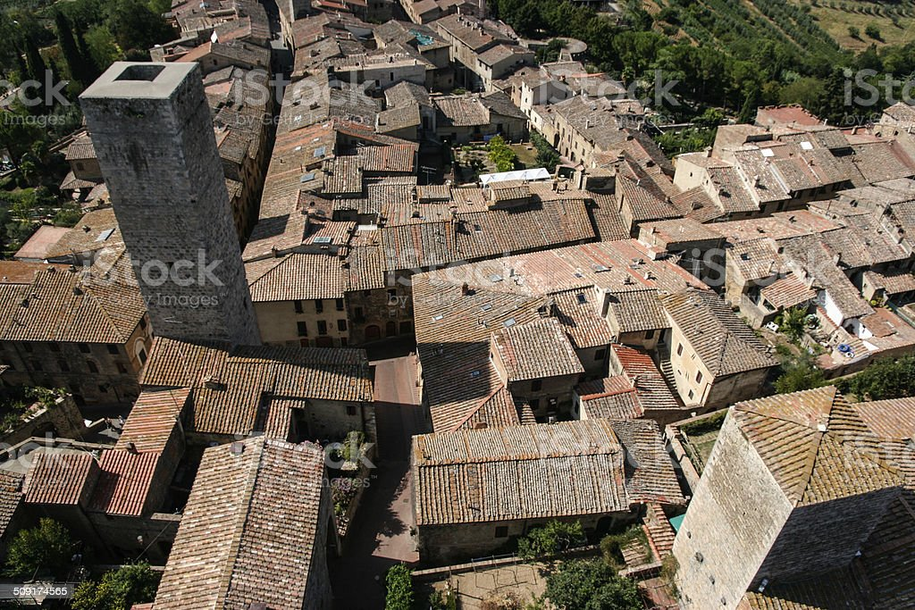 Italian village rooftops royalty-free stock photo