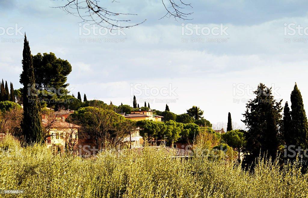 Italian villas in the region of Umbria,Italy stock photo