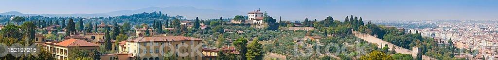 Italian villas palazzo idyllic Tuscan hills city walls panorama Florence stock photo