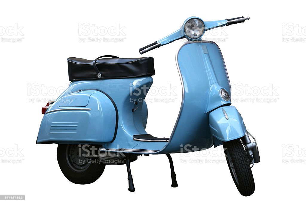 Italian vintage scooter isolated on white in Rome, Italy stock photo