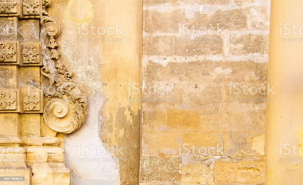 Italian Wall: Beautiful Yellow-Beige Background Texture, Baroque Detail stock photo