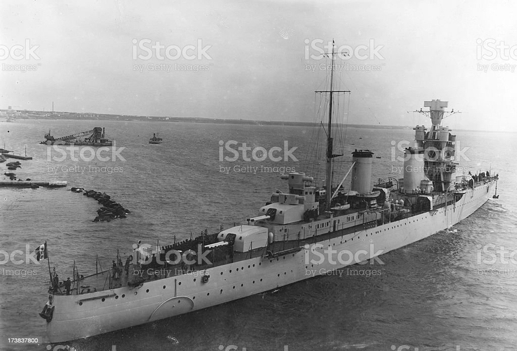 Italian Warship Leaving the Harbor in 1941.Black And White. stock photo
