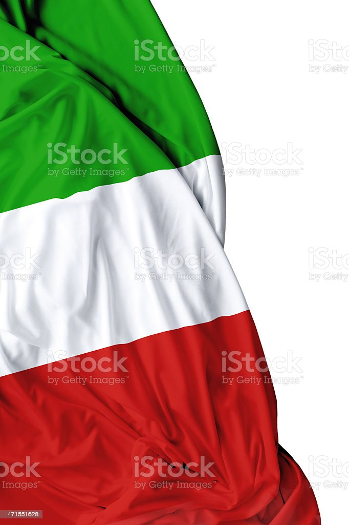 Italian waving flag on white background stock photo