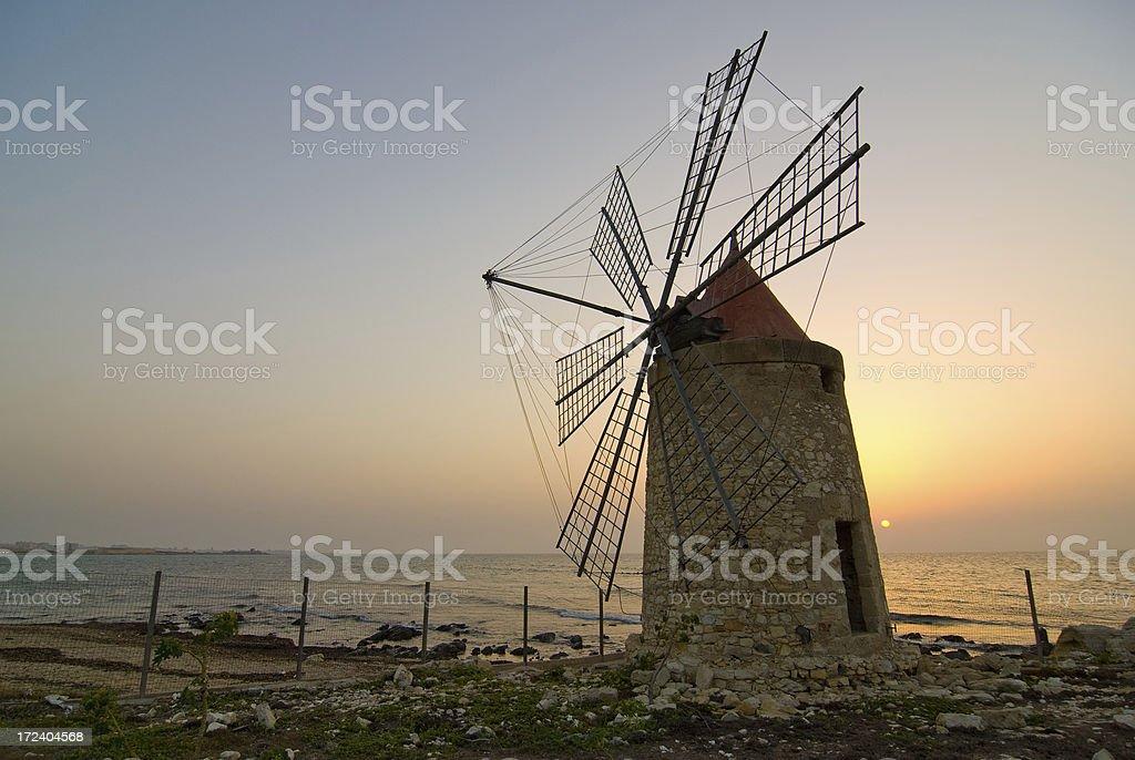 Italian Windmill at Sunset stock photo