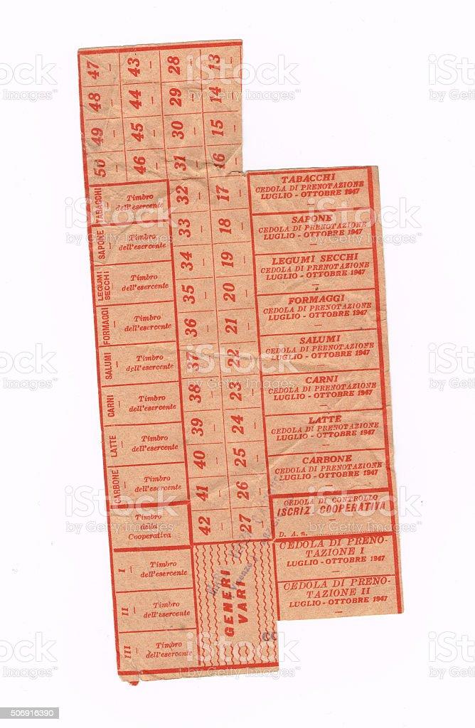 Italian World War II, ration coupon stock photo
