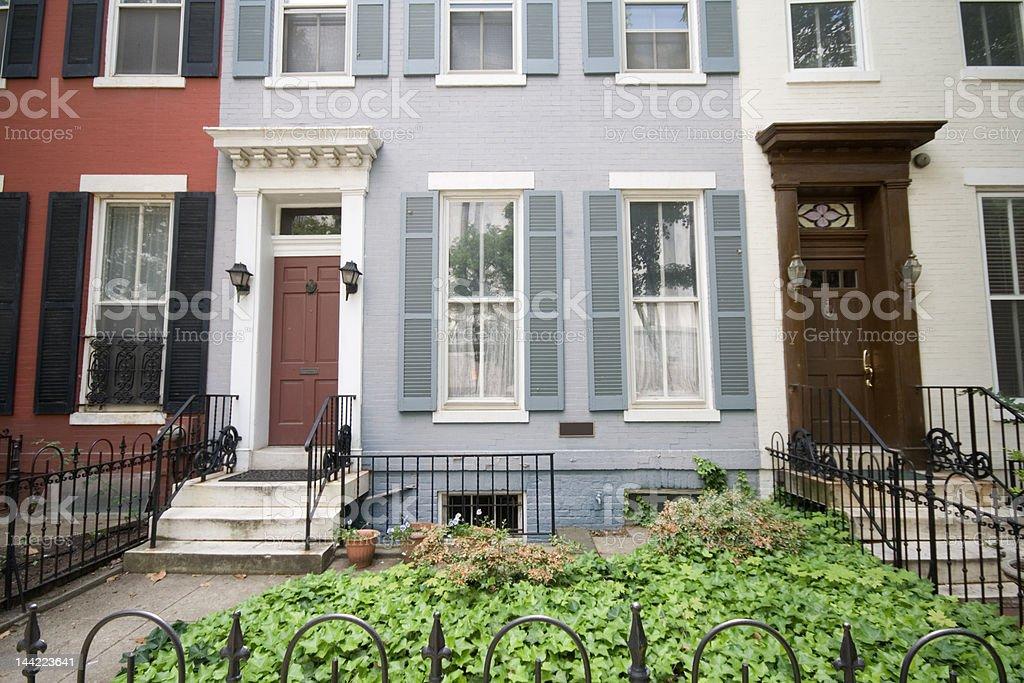 Italianate Style Home and Doorway Row Houses Homes, Washington DC royalty-free stock photo