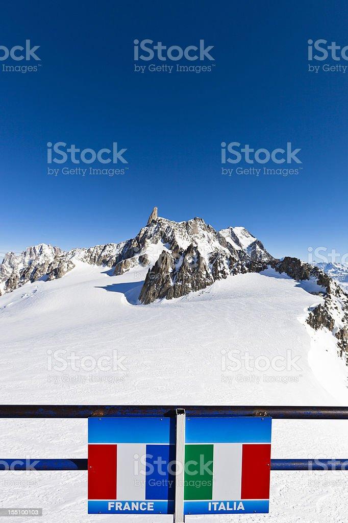Italian-French border on the Mont Blanc Massif stock photo