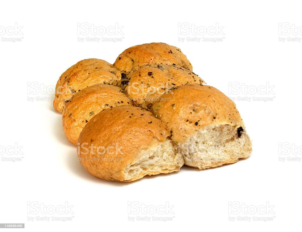 Italian-style olive buns from grey flour royalty-free stock photo