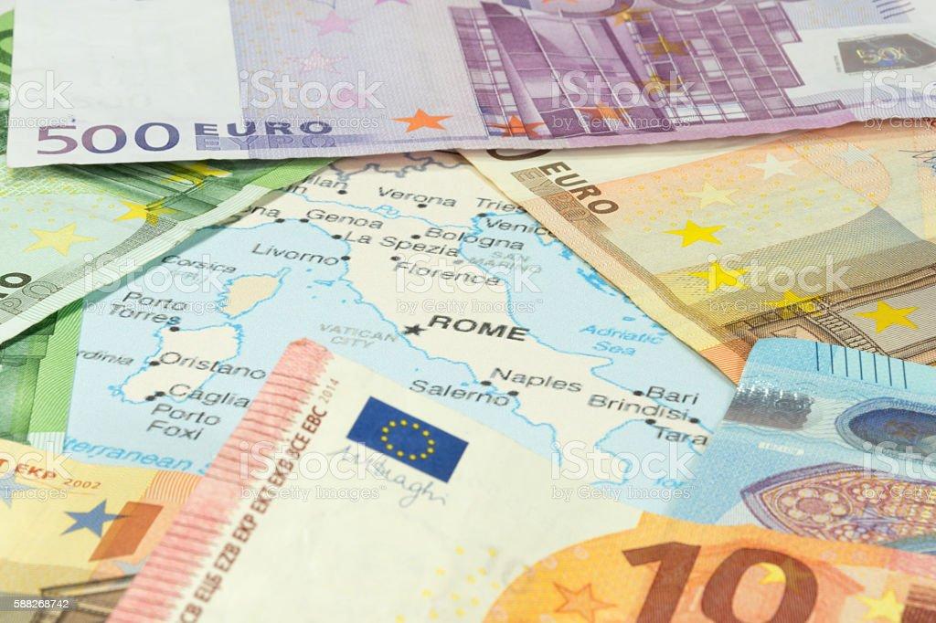 Italienische Landkarte und Geld stock photo