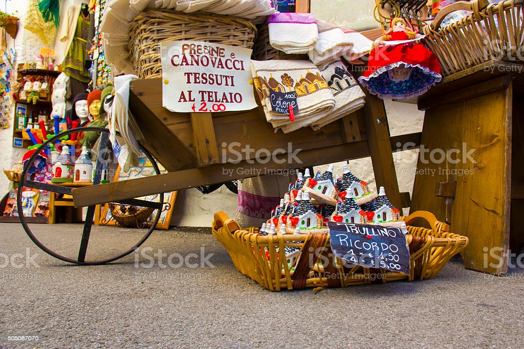 Italy, Alberobello: merchandise for sale in a typical store stock photo