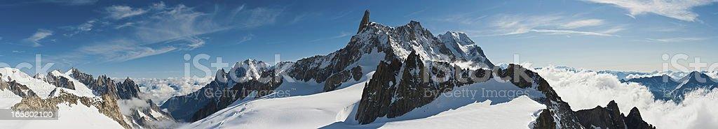 Italy Alpine peaks mountain super panorama Mont Blanc royalty-free stock photo