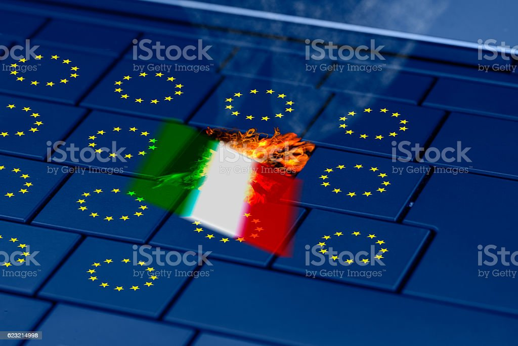 italy and eu flag on a pc keyboard stock photo