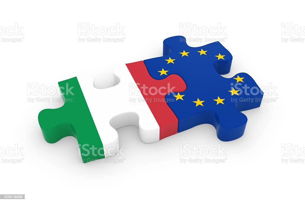 Italy and EU Puzzle Pieces - Italian and European Flag stock photo