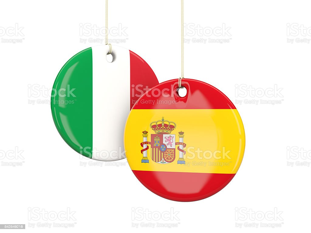 Italy and spain soccer teams round labels stock photo