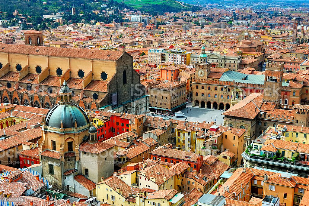 Italy, Bologna main square. stock photo