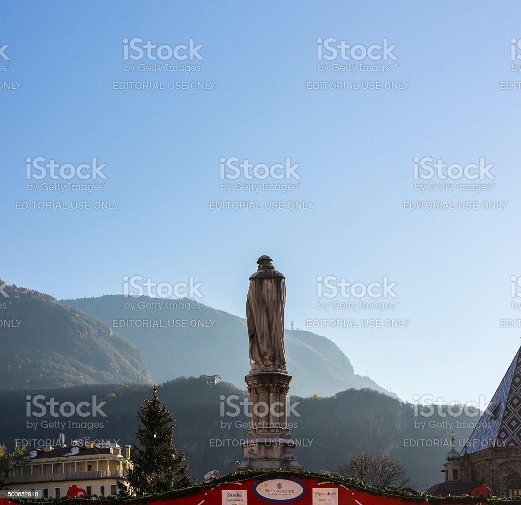 Italy. Bolzano/Bozen. Statue of Walther von der Vogelweide stock photo