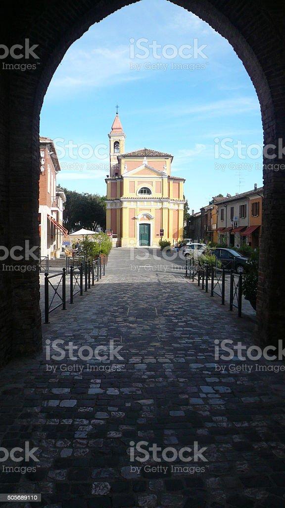 italy city san giovanni in marignano charch stock photo