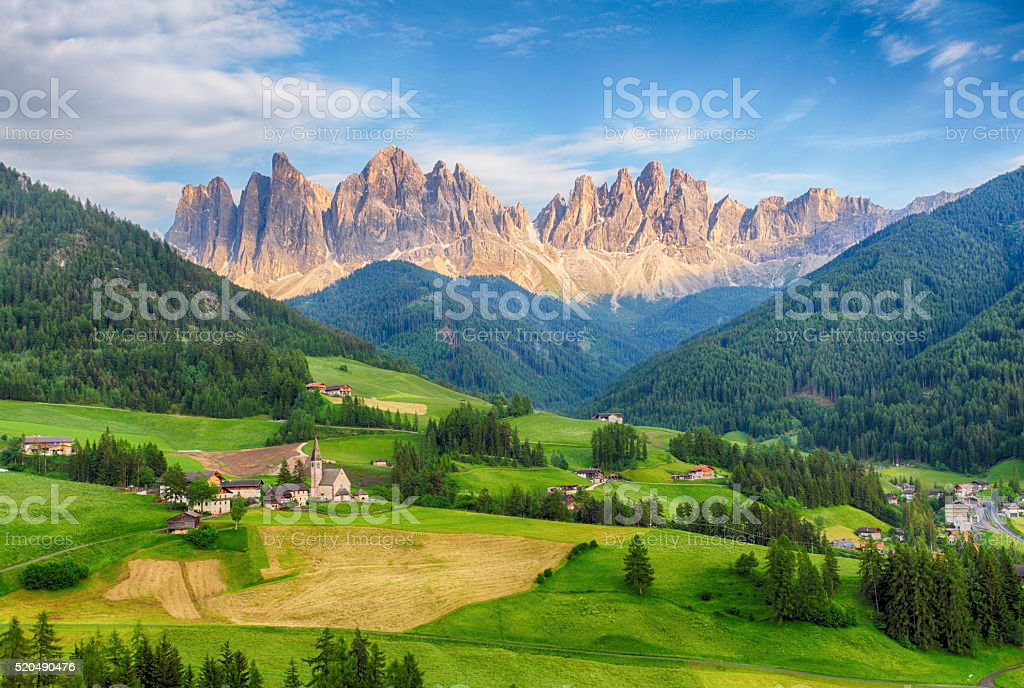 Italy dolomites - Val di Funes stock photo