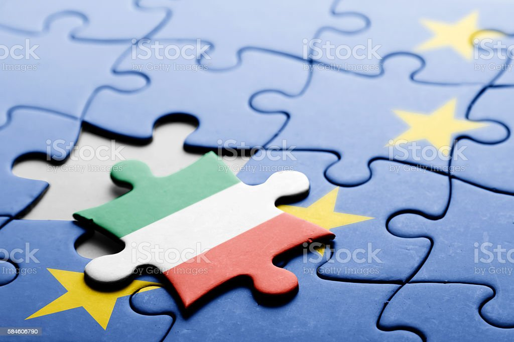 Italy. Exit from European Union concept puzzle stock photo