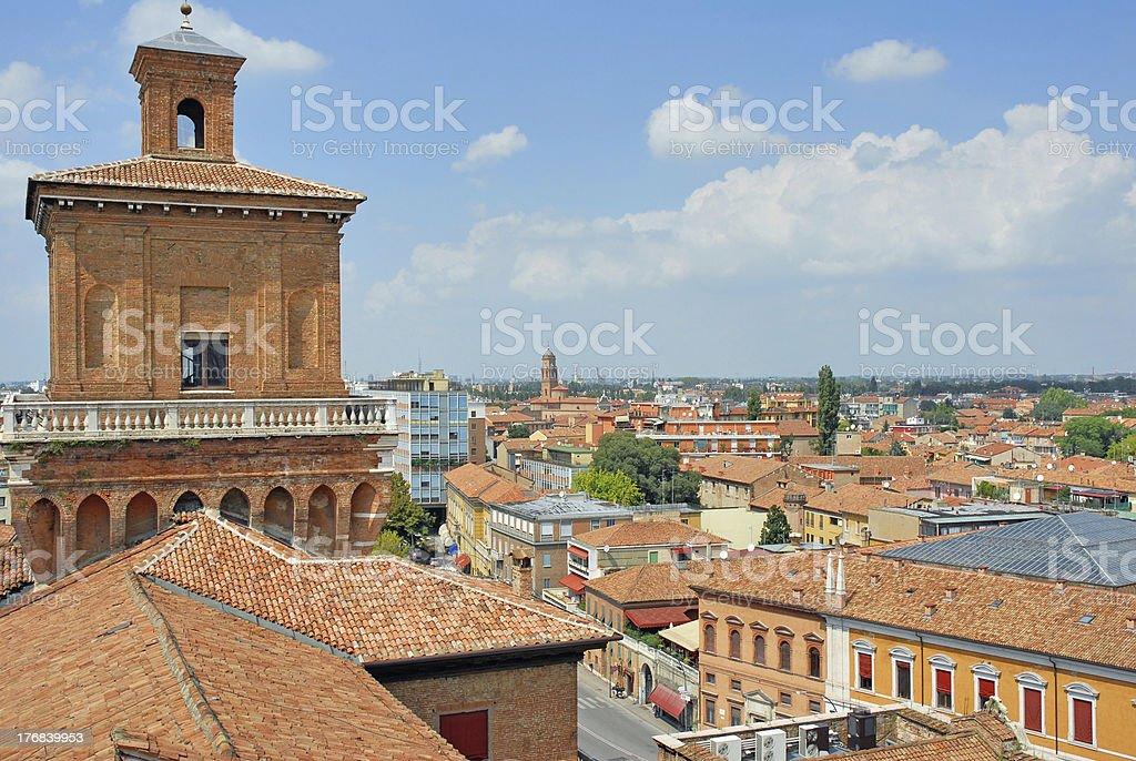 Italy Ferrara city view from Este palace stock photo