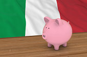 Italy Finance Concept - Piggybank in front of Italian Flag