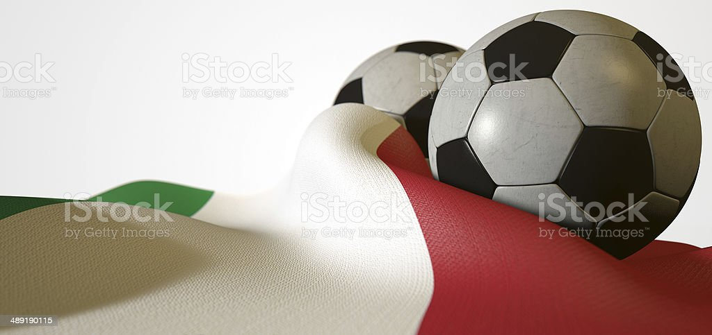 Italy Flag And Soccer Ball stock photo